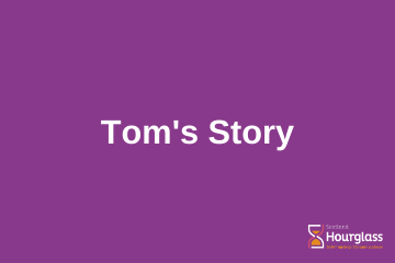 Writing on a purple background, saying: Tom's Story